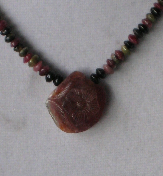 Tourmaline Bead Necklace with Carved Tourmaline Pendant