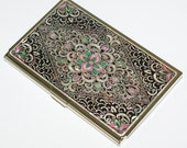 Lacquer Nacre Mother of pearl Business card holder credit ID card case Arabesque  design