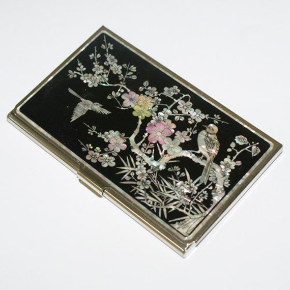 Nacre Najeon chilgi Mother of pearl Business card holder credit ID card case an ume flower and bird design