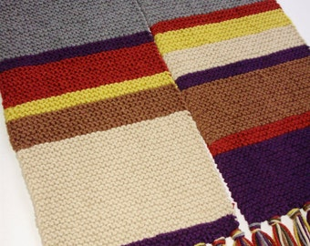 Acrylic Season 12 Doctor Who Hand Knit Handmade Garter Stitch Replica Scarf Fourth Doctor Tom Baker from Ashlee's Knits