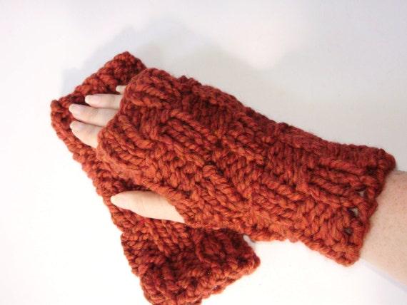 Hand Knit Chunky Pumpkin Spice Fingerless Hand Warmer Glove