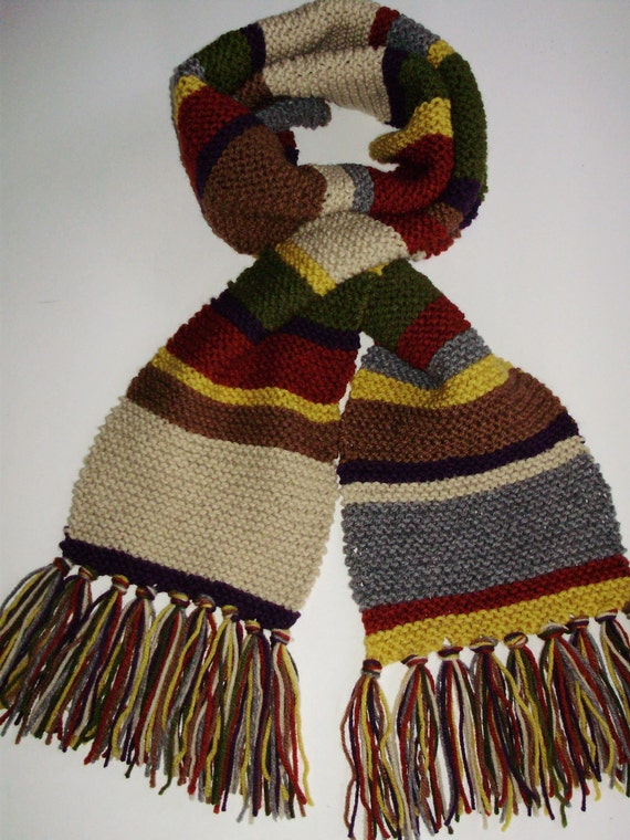 Doctor Who Season 13 Acrylic 'Mini' Hand Knit Replica Garter Stitch Scarf Fourth Doctor Tom Baker from Ashlee's Knits Cosplay