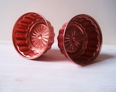 Vintage pair of copper toned jello molds