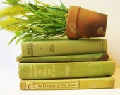 Shabby Chic Instant Collection of Vintage Books in Green -Includes Dr. Jekyll and Mr. Hyde