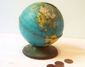 Vintage Tin World Globe Coin Bank By Ohio Art