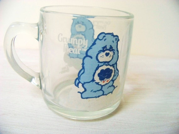 Vintage Care Bears Grumpy Bear Clear Glass Mug/Coffee Cup in Blue and Pink
