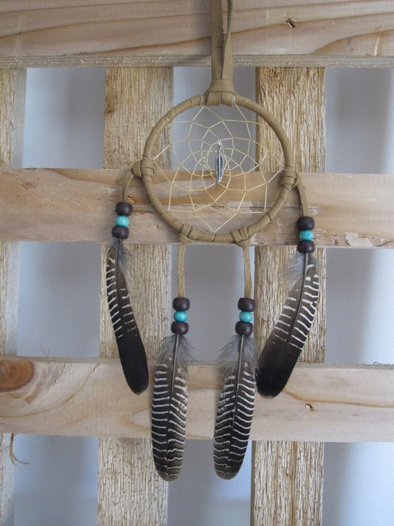 Dream Catcher Dark Tan Deerskin Lacing  with Partridge Feathers