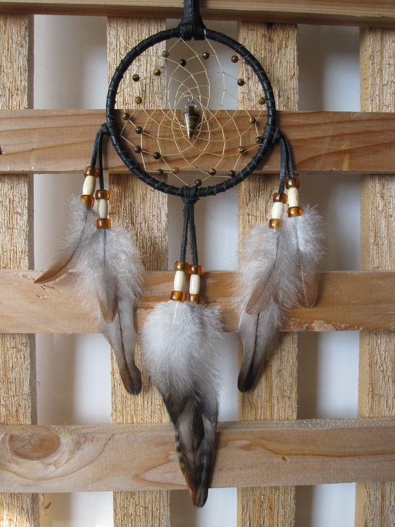 Dream Catcher Black Leather with Rooster Feathers