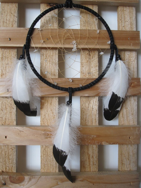 Dream Catcher Black with Hand Painted Golden Eagle Coverlet Feathers