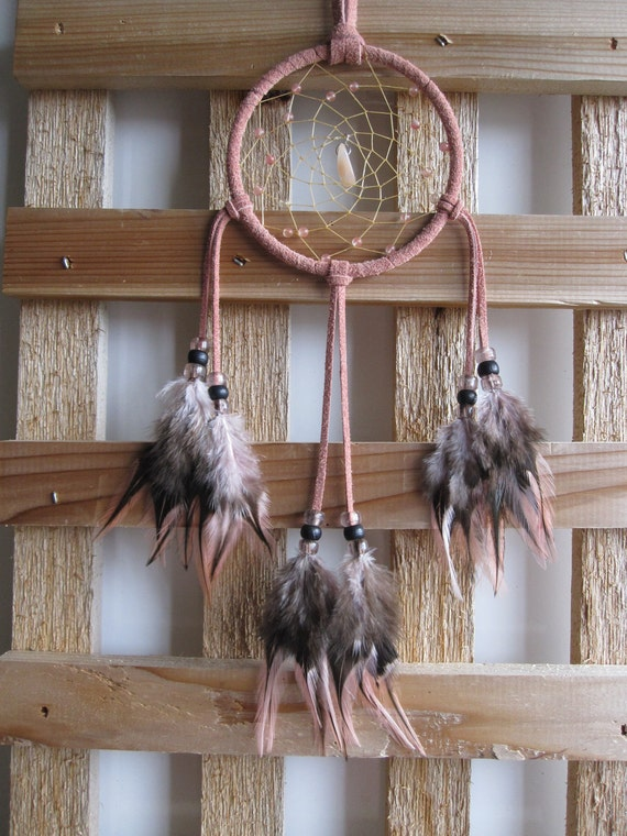 Pink Suede Dream Catcher with Rooster Feathers