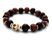 Stone Skull & Wooden Bead Stretch Bracelet
