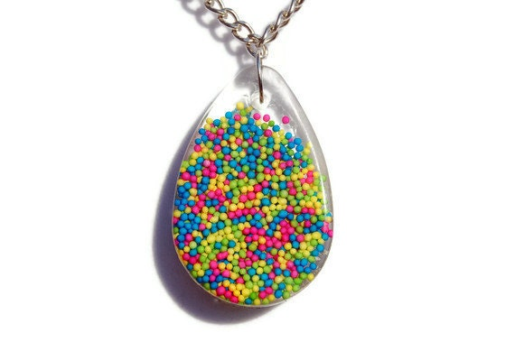 Neon Rainbow Sprinkle Resin Drop Pendant Necklace