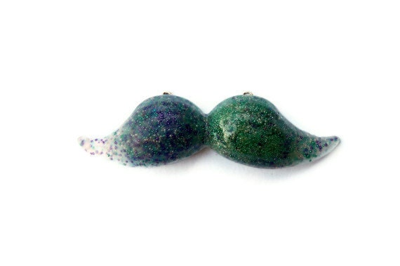 Under the Sea Blue and Green Caviar Resin Mustache Necklace