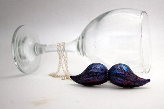Midnight Glitter Black Mustache Necklace