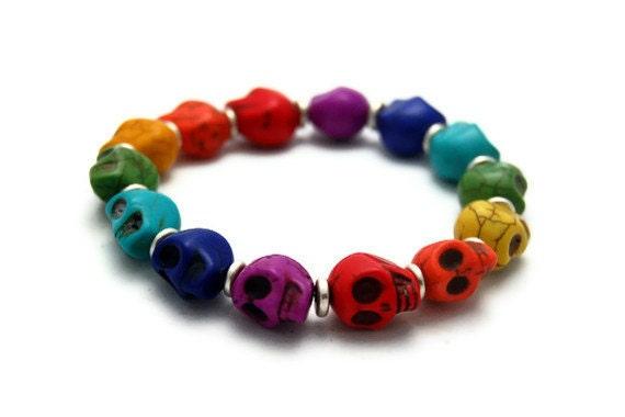 Rainbow Howlite Stone Skull Beaded Stretch Bracelet