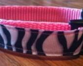 Dog Collar handmade adjustable pink zebra small