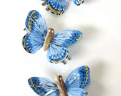 Set of Three Blue Butterfly Prom,Wedding or Summer Hair Clip