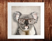 Smiling koala with glasses print, koala poster 8x8 print gift funny gift print portrait wall art print wall decor illustration