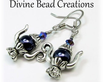 Swarovski Night Blue Pearl Teapot Surgical Steel Earrings Dangle Casual Fun Gift for Her Tea Lover
