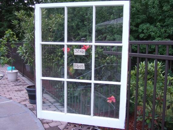LARGE Vintage Window sash old 9 pane 32 x 40 from 1940s
