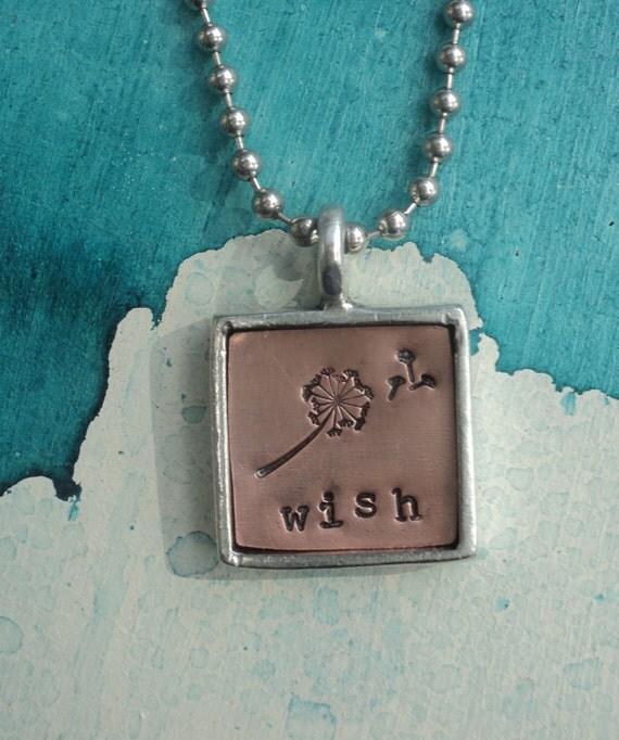 """Silver Copper Square Pendant with """"wish"""" and  dandelion"""