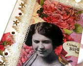 Altered Journal Diary - Anthropologie Style (Hard Cover Composition Book Notebook) - Red / Roses / Lace / Amber