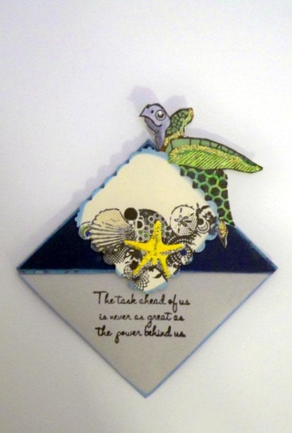 Sea Turtle and Starfish Corner Bookmark - Reptiles & Echinoderms Under the Sea (Embossed / Navy Blue)