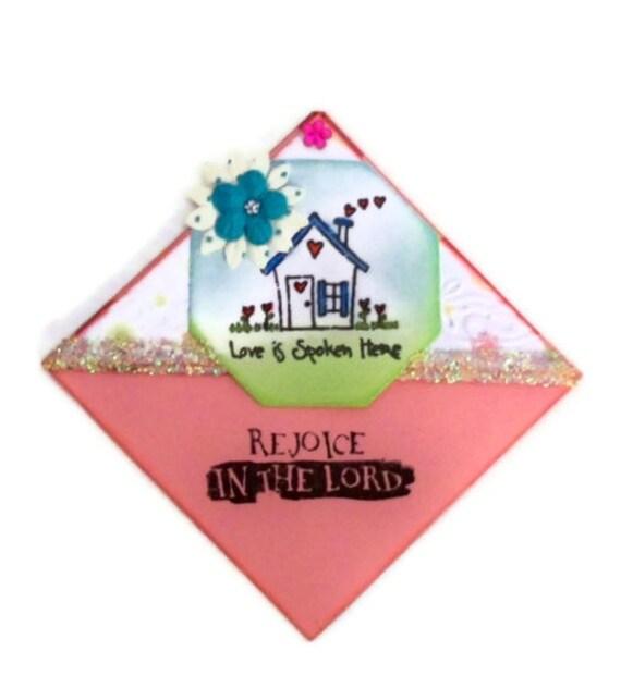 Bookmark Under 5 Gift Rejoice:  Love Is Spoken Here Corner Bookmark - Hand Stamped (Pink / Blue / Green Embossed) - Stocking Stuffer