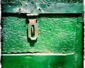 Green Antique Pressed Tin Wooden Trunk