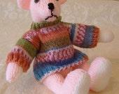 Hand Knitted Teddy Bear in peach yarn . Traditional style 11 inch long with mock fairisle jumper