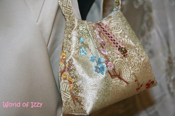 Small Gold and Cream Colored Brocade Purse, Japanese Print