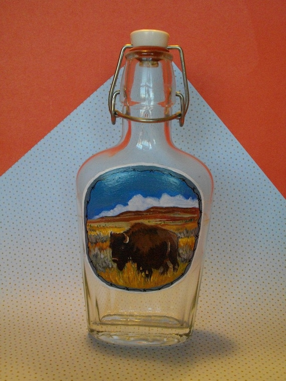 Where The Buffalo Roam - Hand Painted Old Flask Bottle