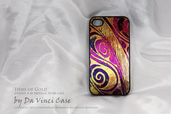 Unique Metallic iPhone 4 case - iphone 4s case - Tides of Gold - vibrant abstract art on brushed aluminum iphone SLIM case
