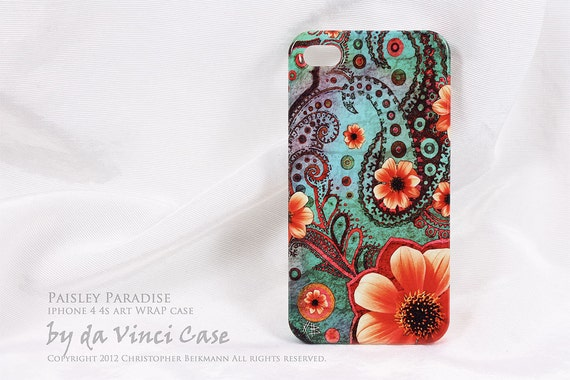 Paisley iPhone 4 case - iPhone 4s case - art WRAP iPhone case - Paisley Paradise- vibrant tropical floral artwork