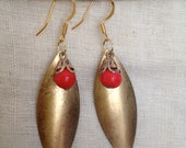 Handmade Brass Leaf vintage earring with red droplet