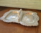 Vintage Silver Serving Tray with 2 Removable Glass Inserts