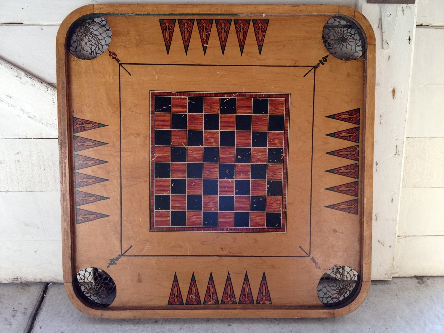 Vintage Wooden Game Board With Mesh Corner Pockets Carrom