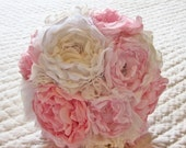 Custom Fabric Bridal Bouquet.  Pinks, Ivory and White with  Pearls, Lace, Brooches and Vintage Findings