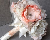 Vintage Inspired Fabric Flower Custom Bouquet Vintage Peach, Ivory and Champagne Fall Bridal with Pearls, Rhinestones and Brooches
