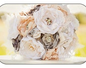 Fabric Bridal Bouquet-Custom. Cream, ivory, champagne, grey, peach and nude. Vintage brooches, pearls and Rhinestones
