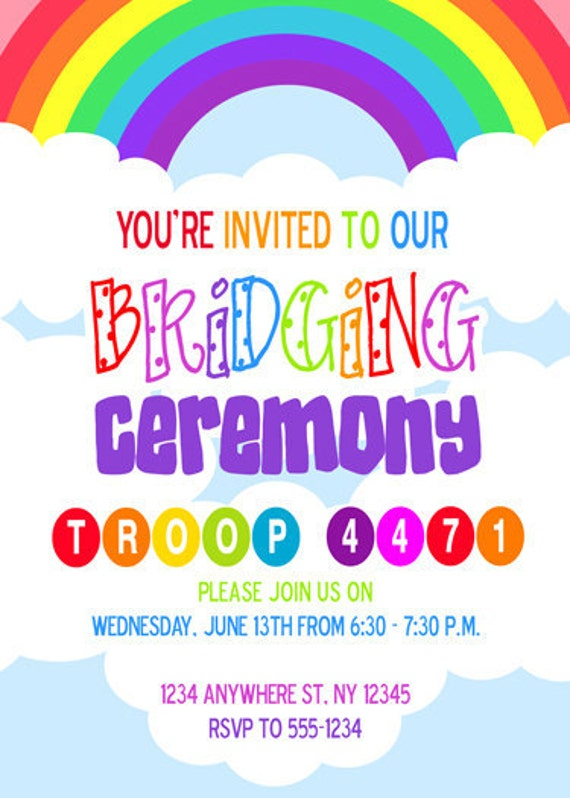 Girl Scouts Brownies Bridging Ceremony Invite by Meghilys ...