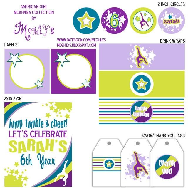 American Girl McKenna Gymnastics Party DIY Printables