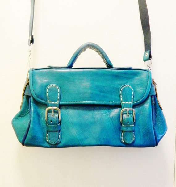 Genuine Leather  Handcrafted Deep Turquoise Color Satchel with Optional Strap Chic Bag