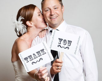 my ORIGINAL I'm Her Mr/ I'm His Mrs - Thank You Card-Double Sided-Wedding Photo Booth Props Sign- On WHITE Paper - Set of 2