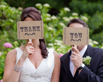 my ORIGINAL I'm Her Mr/ I'm His Mrs - Thank You-Double Sided-Wedding Photo Booth Props Signs- On KRAFT Paper - Set of 2