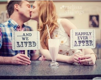 my ORIGINAL-Love Him / Love Her/ And We Lived Happily Ever After- Double Sided Wedding Photo Booth Props - White Paper Goods- Set of 2