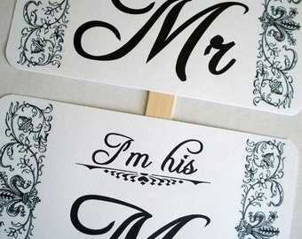 Photo Booth Prop my ORIGINAL Royale1- I'm His/I'm Her MR & MRS- Thank You- Double Sided Wedding Photo Props Sign on White Paper - Set of 2