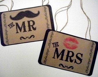 Photo Booth Prop Signage my Original-MR / MRS - Mustache/Lips Chair Signs On Kraft Paper - Set of 2