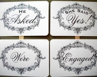 my ORIGINAL Elegant Frame-He Asked / She Said Yes-We're Engaged Double Sided Photo Booth Props on White Paper- Set of 2