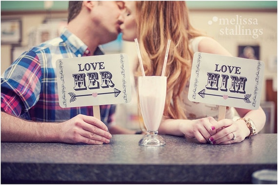 my ORIGINAL-Love Him / Love Her/ And We Lived Happily Ever After- Double Sided Wedding Photo Props - White Paper Goods- Set of 2
